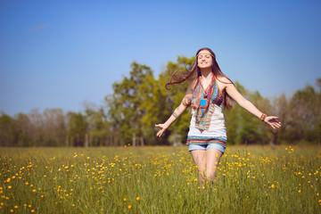 Smiling hippie in summer light