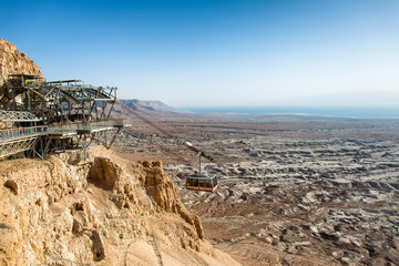 Cable car to Masada, ancient fortification , The Dead Sea in the