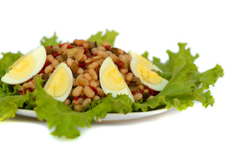 Vegetable salad with eggs. Isolated