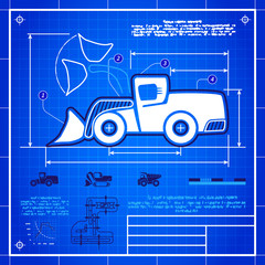 Front wheel loader icon like blueprint drawing
