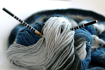 the concept of a hobby of knitting wool