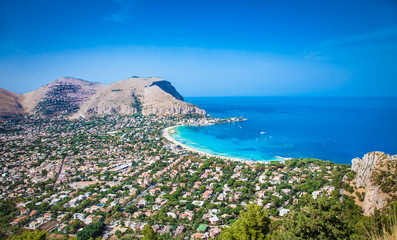 Foto auf Acrylglas Palermo Panoramic view on Mondello beach in Palermo, Sicily.