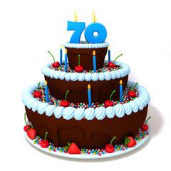 Birthday cake with number seventy