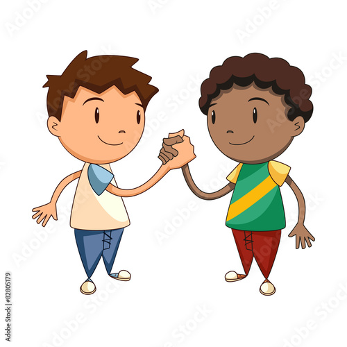 """Friends shaking hands, vector illustration"" Stock image ..."
