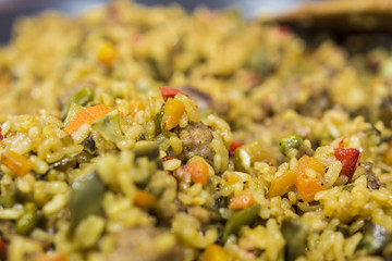 Spanish paella ready to serve close up