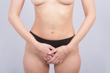 Body with cellulite on her hips : concept of cellulite remov