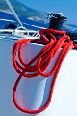 Capstan with red rope