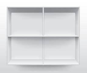 Empty white shelf on wall vector
