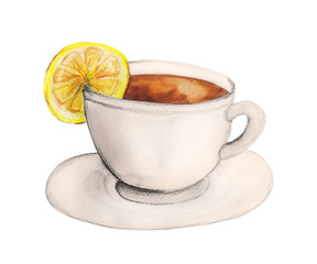 Cup of tea with lemon. Watercolor