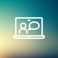 Video chat online thin line icon