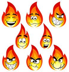 Cartoon Flammen mit verschiedenen Gesichtern