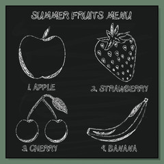 Set of Summer Fruits Menu - Hand-sketched  Element on Chalkboard