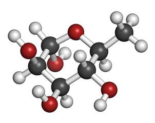 Rhamnose (L-rhamnose) deoxy sugar molecule.