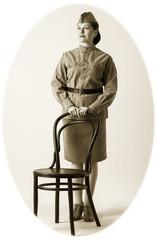 Portrait of woman in Russian military uniform