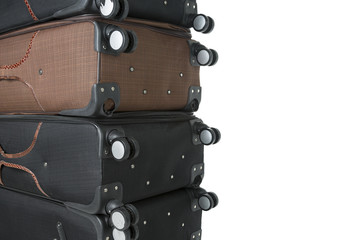 image of broken suitcases after fliying with space for text