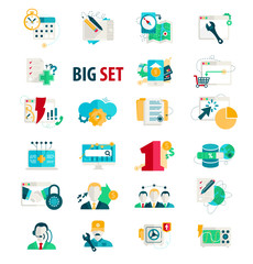 Set flat icons for bussiness.