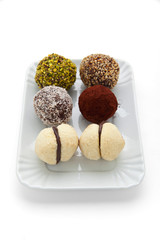 different types of Italian truffle cookies & cookies Baci di Dam