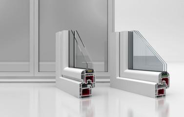 Sezione finestre a tre e due vetri