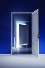 Open door with rays of light