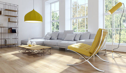 Obraz Living room giallo - fototapety do salonu