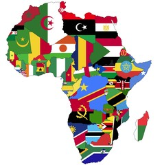 Highly Detailed Africa Map With Country Flags.