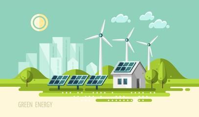 Green energy, urban landscape, ecology - vector illustration. Wall mural