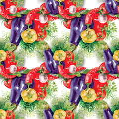 Watercolor vegetable seamless pattern on white background