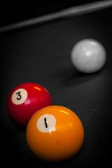 Drei Billardkugeln, 1 und 3 und Weiß - colorkey