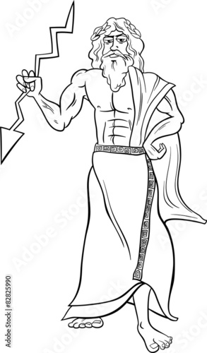 """greek god zeus coloring page"" Stock image and royalty"