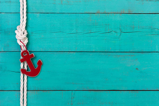 Blank nautical sign with rope and red anchor border