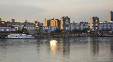 River port in Krasnoyarsk. Russia