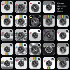 Set of camera apps icons