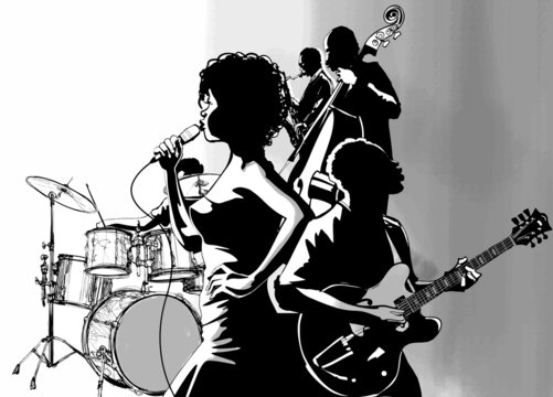 Jazz singer with guitar saxophone and double-bass player