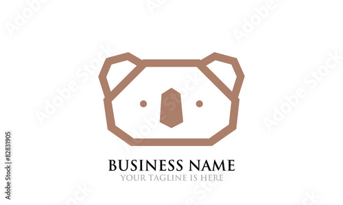 line art of koala logo template stock image and royalty free