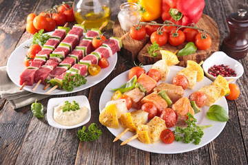 beef and fish kebab, barbecue