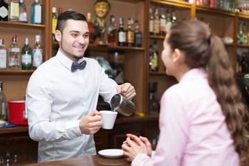 Bartender and barista working