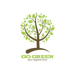 Wall Mural - Go green tree logo