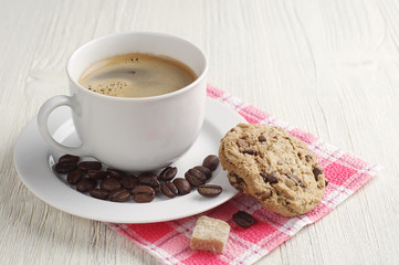 Coffee and cookie with chocolate
