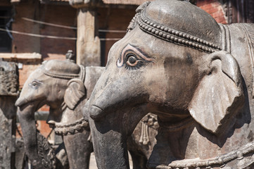 Elephant statue in the temple at Kirtipur , Nepal