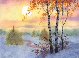 Watercolor landscape. A quiet winter evening in a field