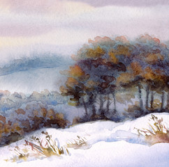 Watercolor winter landscape. Trees on the hill