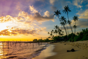 Beautiful untouched beach at Ahangama, Sri Lanka