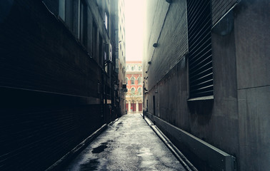 Dark alley in Toronto, Canada
