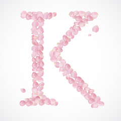 Vector alphabet from pink petals of rose