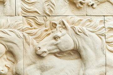 Horse Carving art of freedom in soft light