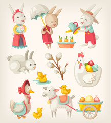 Colorful images of Easter characters and animals