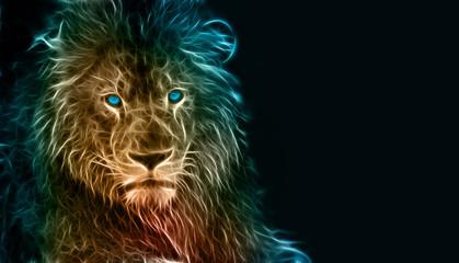 Fantasy digital art of a lion Wall mural