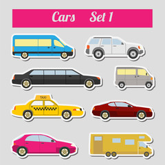 Papiers peints Cartoon voitures Set of elements passenger cars for creating your own infographic
