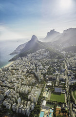 Aerial view of Ipanema Beach with high mountains