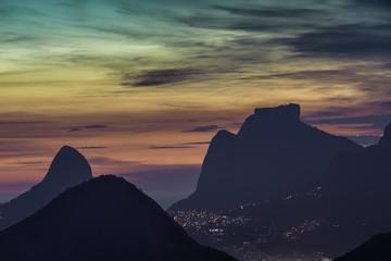 Mountains in Rio De Janeiro by dusk